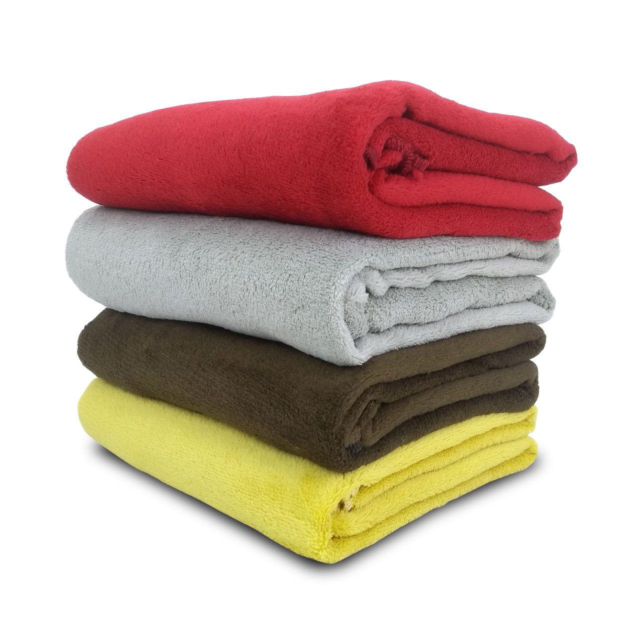 Kit 4 Cobertor Manta Pet Fleece Gato Cães 1,10 x 0,90m Amarelo - Berve Enxovais