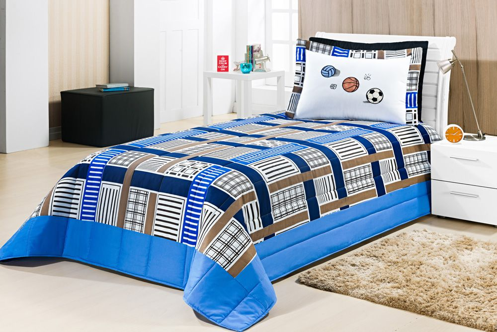 Kit Solteiro Juvenil 02 peças Bordado - Azul