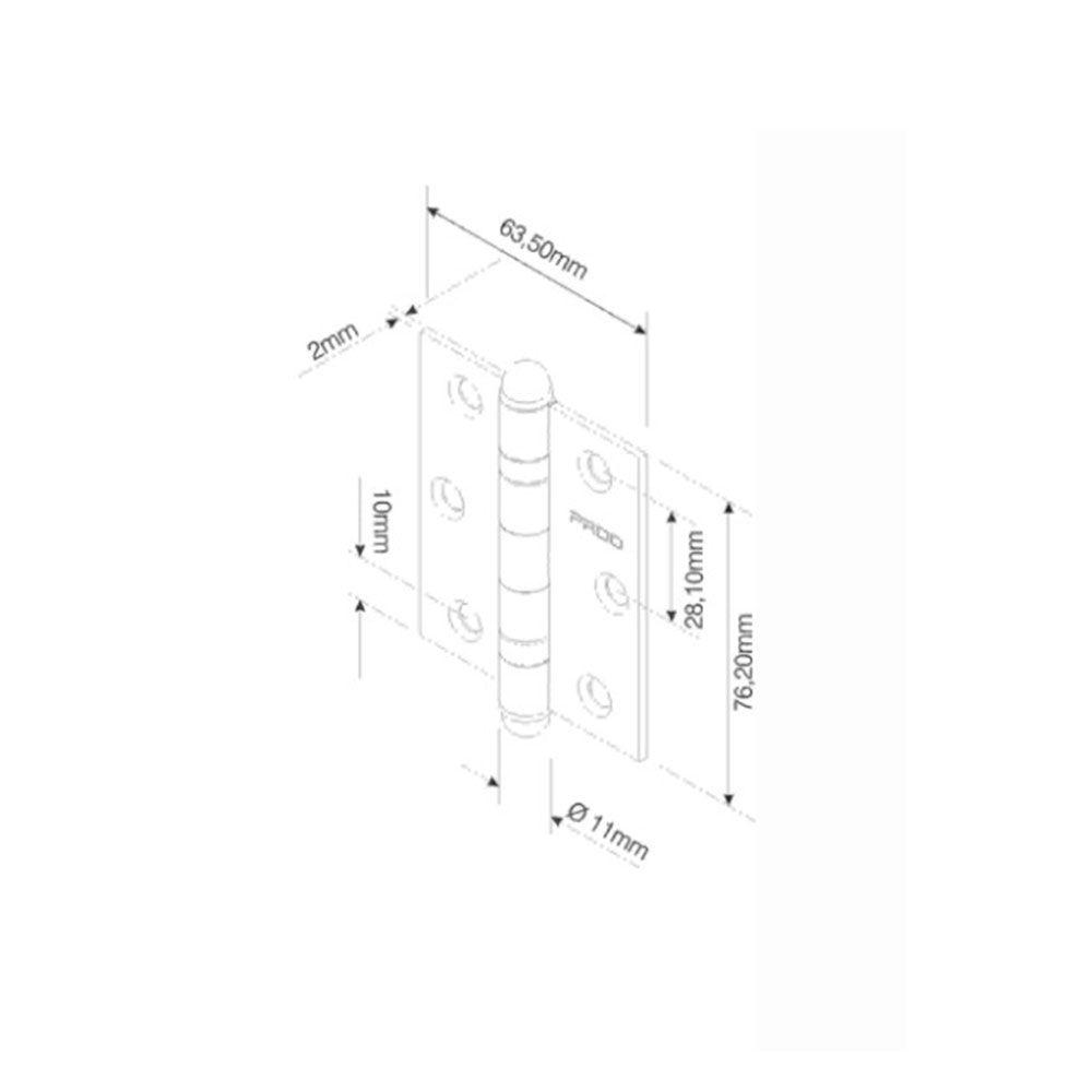 Dobradiça com Rolamento-Raio-3025-Pado