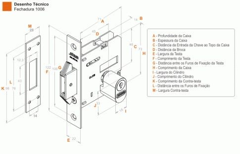 Fechadura-Bater Correr-Bico de Papagaio-Zamac-Stam-1006