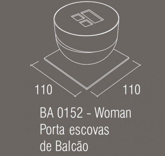 Porta Escova Bancada Zamac/Acrílico Zen WOMAN