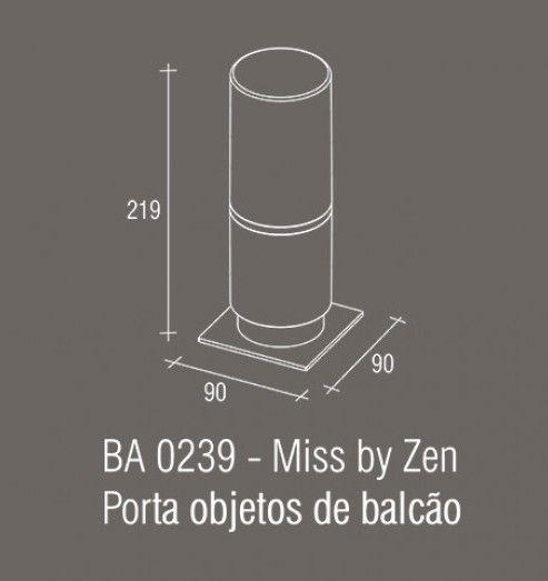 Porta Objetos Bancada Zamac/Acrílico Zen MISS