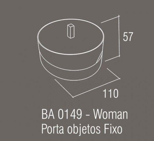 Porta Objetos Fixo Zamac/Acrílico Zen WOMAN