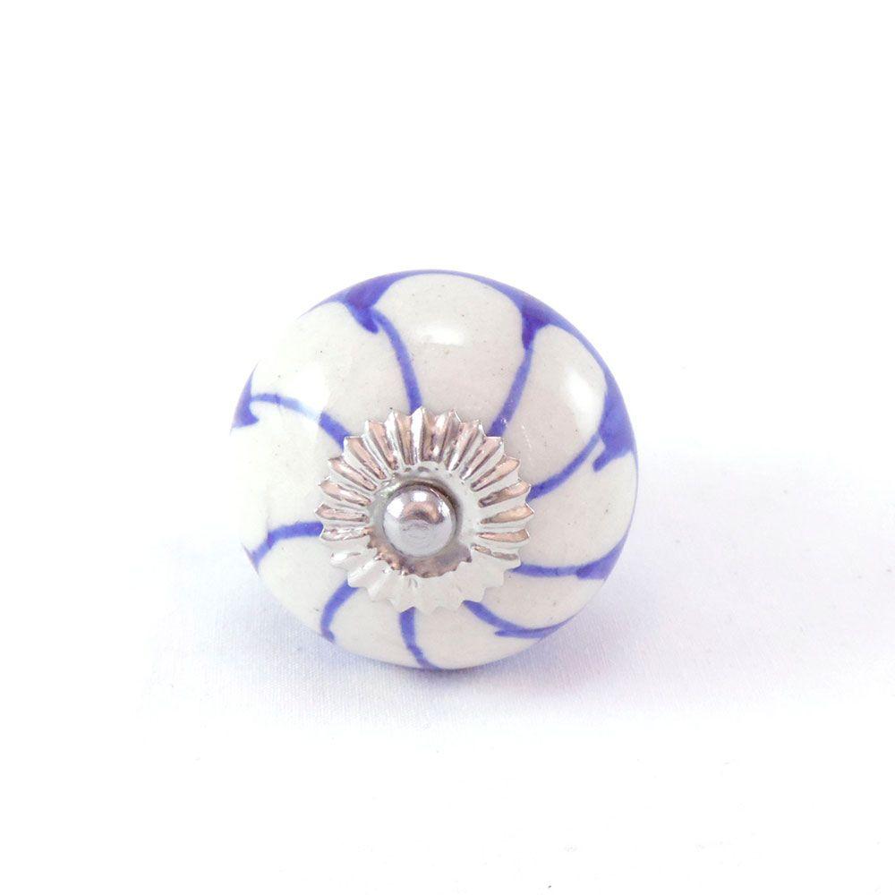 Puxador de Gaveta-Cerâmica-Sobrepor-Azul -Vênus -3076