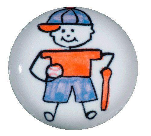 Puxador Gaveta-Cerâmica-Sobrepor-ItalyLine-Menino Baseball-IL 7055