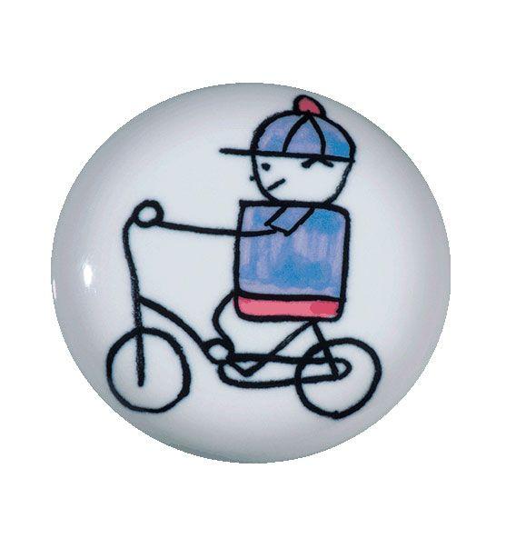 Puxador de Gaveta-Cerâmica-Sobrepor-Italy Line-Menino Bicicleta-IL 7053