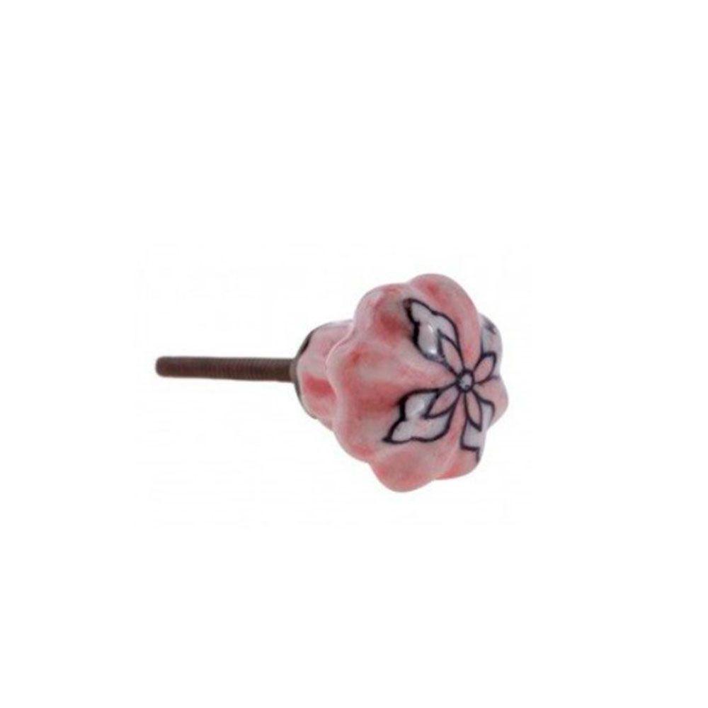 Puxador de Gaveta-Cerâmica-Sobrepor-Rosa-Vênus-3159