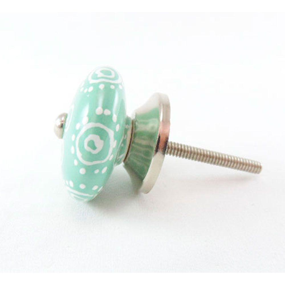 Puxador de Gaveta-Cerâmica-Sobrepor-Verde-Vênus-3078