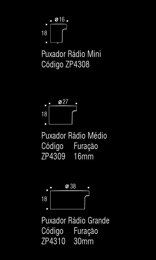Puxador de Gaveta-Sobrepor-Zen-Radio