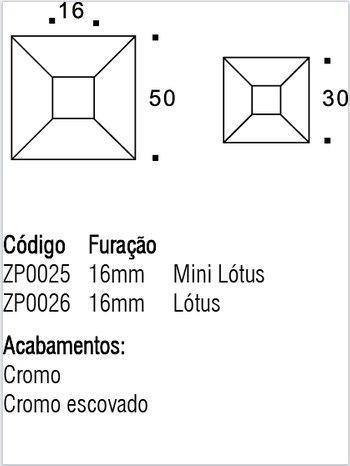 Puxador de Gaveta -Zamac-Sobrepor-Zen-Lotus