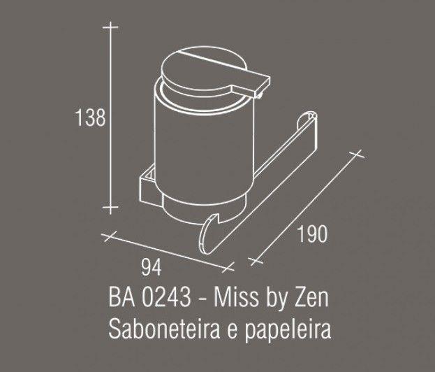 Saboneteira e Papeleira Zamac/Acrílico Zen MISS