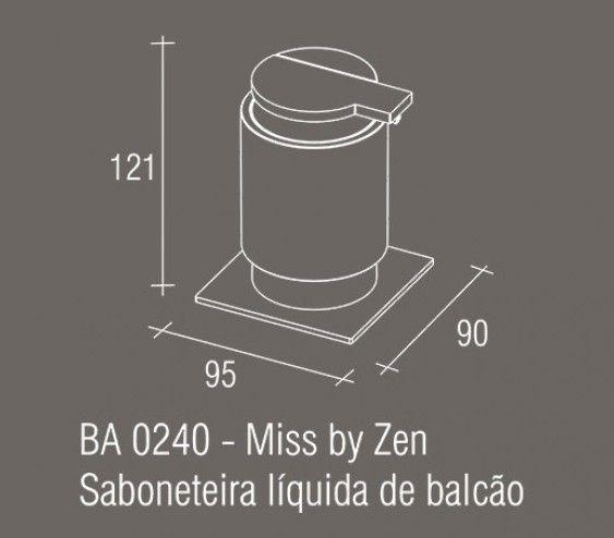 Saboneteira Líquida de Balcão Zamac/Acrílico ZEN MISS