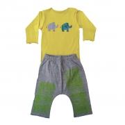 Conjunto calça e Body Amarelo Elefantes para Bebê