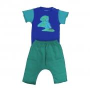 Conjunto calça e Body Azul Passaros