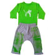 Conjunto calça e Body Branco para Bebê