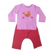 Conjunto calça e Camiseta Manga Curta Rosa Pássaro