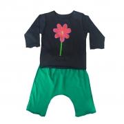 Conjunto calça e Camiseta Manga longa Preta Flor