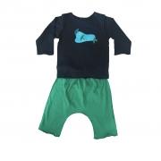 Conjunto calça Verde e Camiseta Manga longa Preta Pássaros