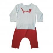 Conjunto calça Vermelha e Camiseta Manga longa Gatinho
