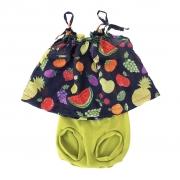 Conjunto para Bebê Menina Preto Frutas Bbmoderno