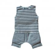 Conjunto Shorts e regata listrada preta para bebê
