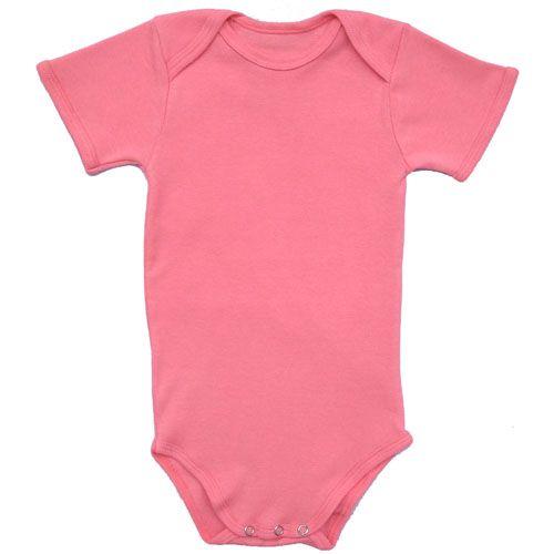 Body Manga Curta em Malha Rosa para Bebê