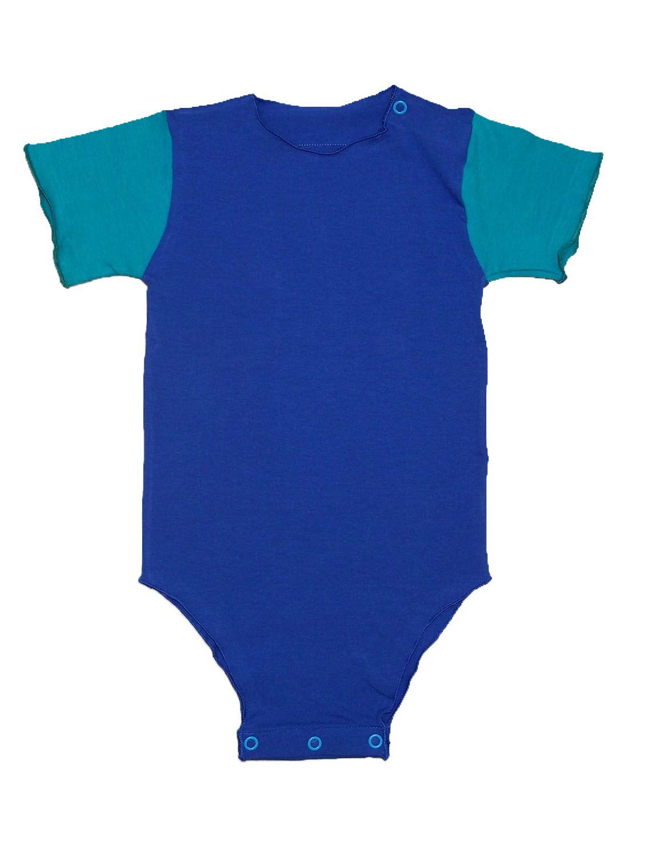 Body Segunda Pele Manga Curta Azul Para Bebê Unissex