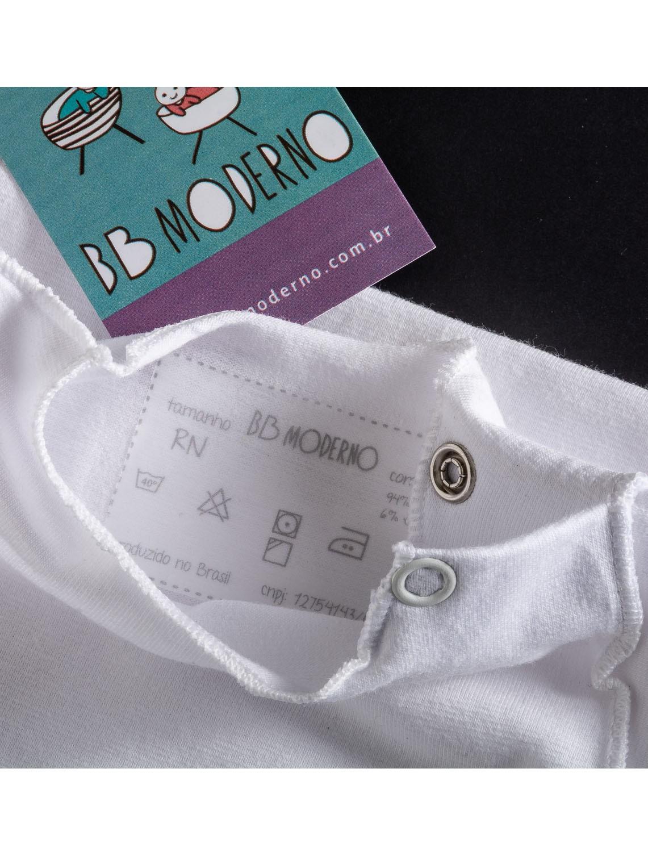 Body Segunda Pele Manga Curta Branco Para Bebê Unissex
