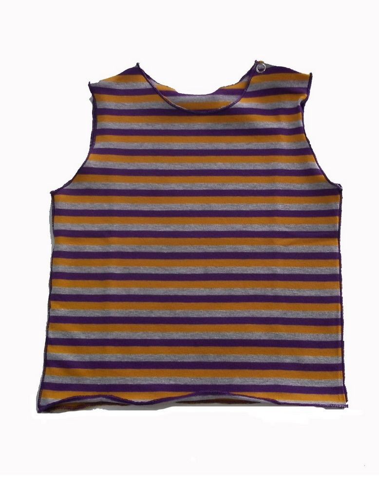Camiseta Cavada Listrada Laranja e Roxo