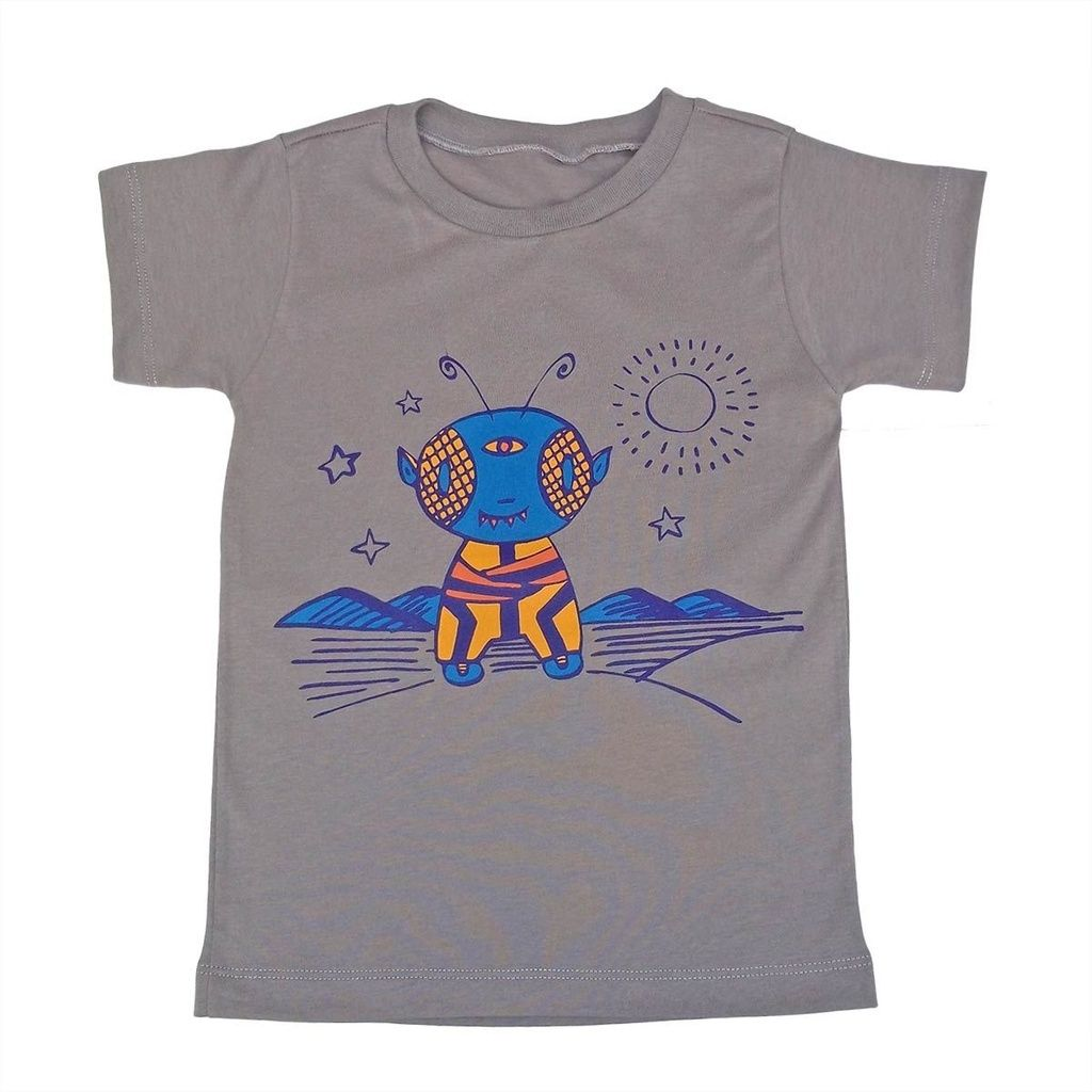 Camiseta Manga Curta em Malha Caqui para Meninos