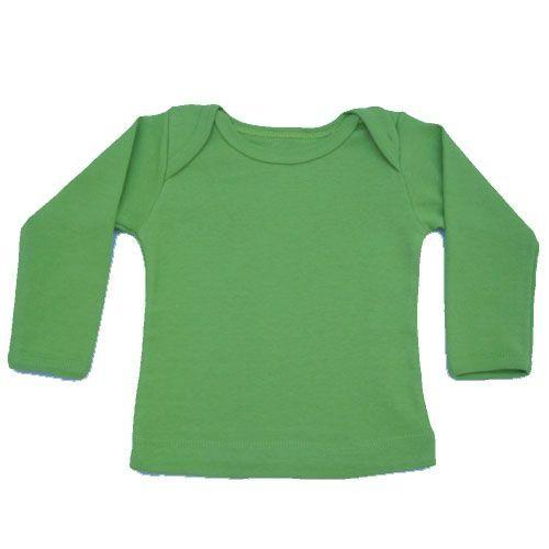 Camiseta Manga Longa em Malha Básica Verde Limão para Bebê