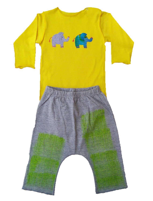 Conjunto calça e Body Amarelo para Bebê