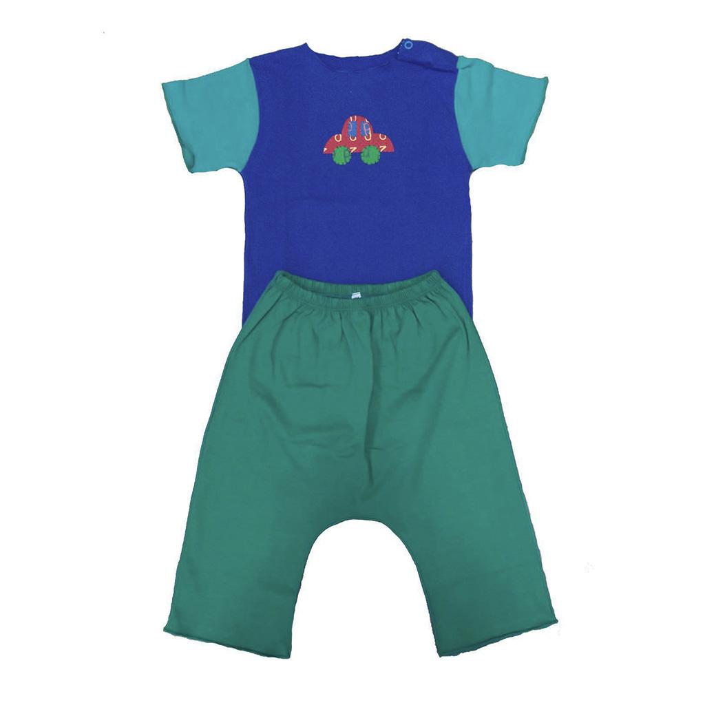 Conjunto calça e Body Azul Carrinho