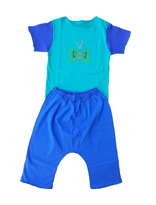 Conjunto calça Azul e Body Manga Curta Verde Borboleta