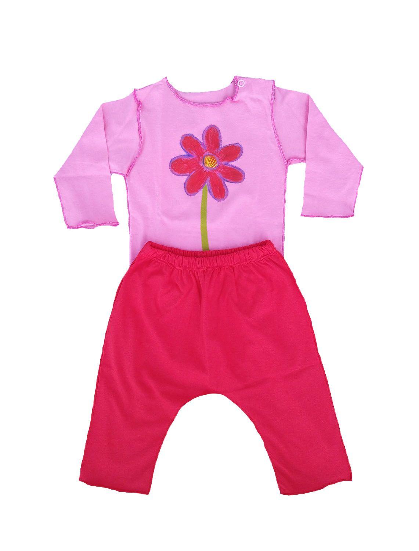 Conjunto calça e Body Rosa Flor Vermelha