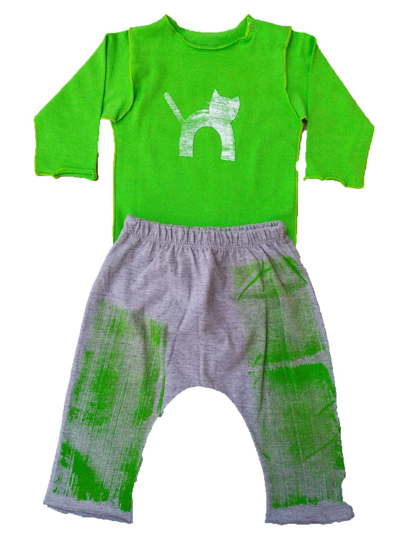 Conjunto calça e Body Verde para Bebê