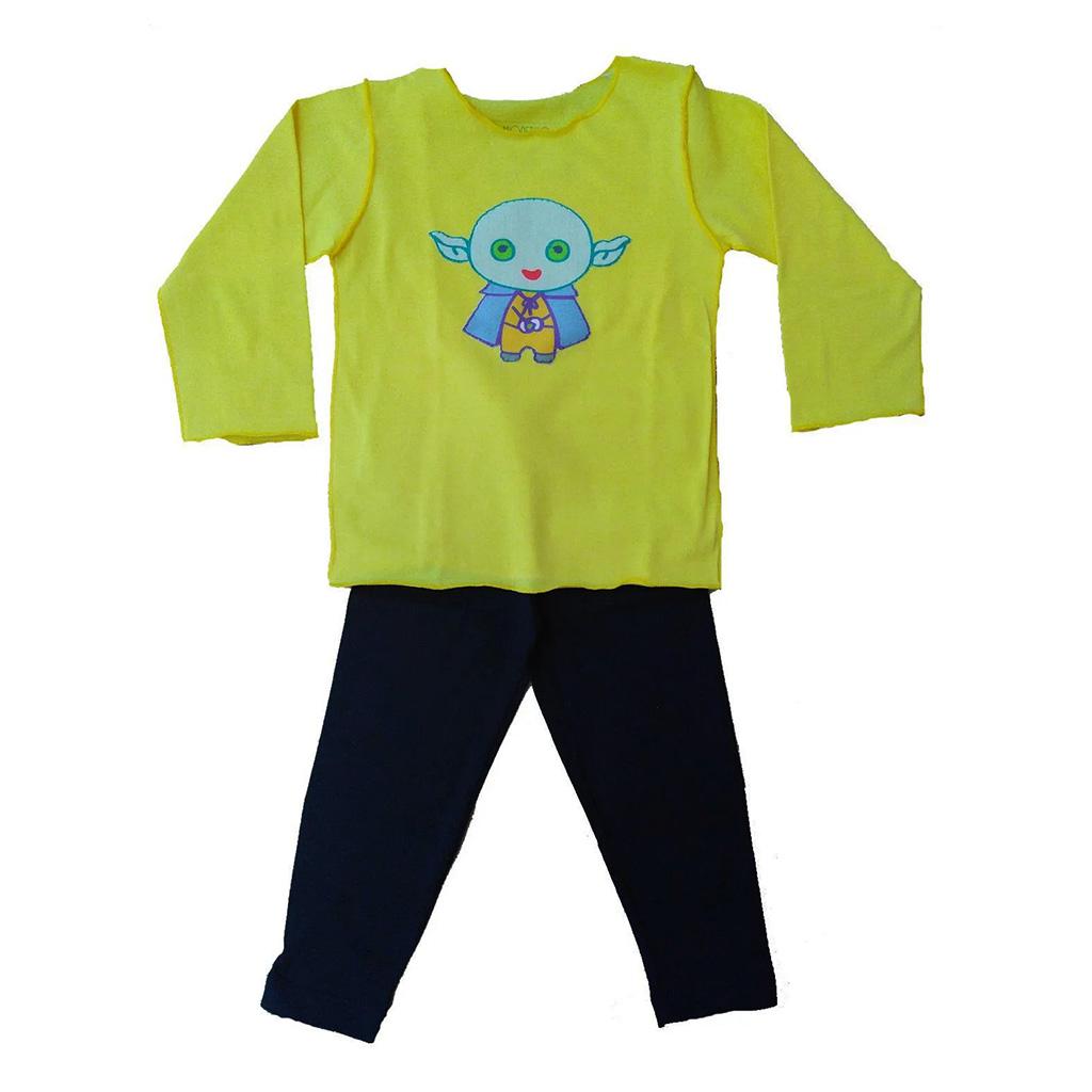 Conjunto Calça e Camiseta Manga longa Amarela Mestre Yoda