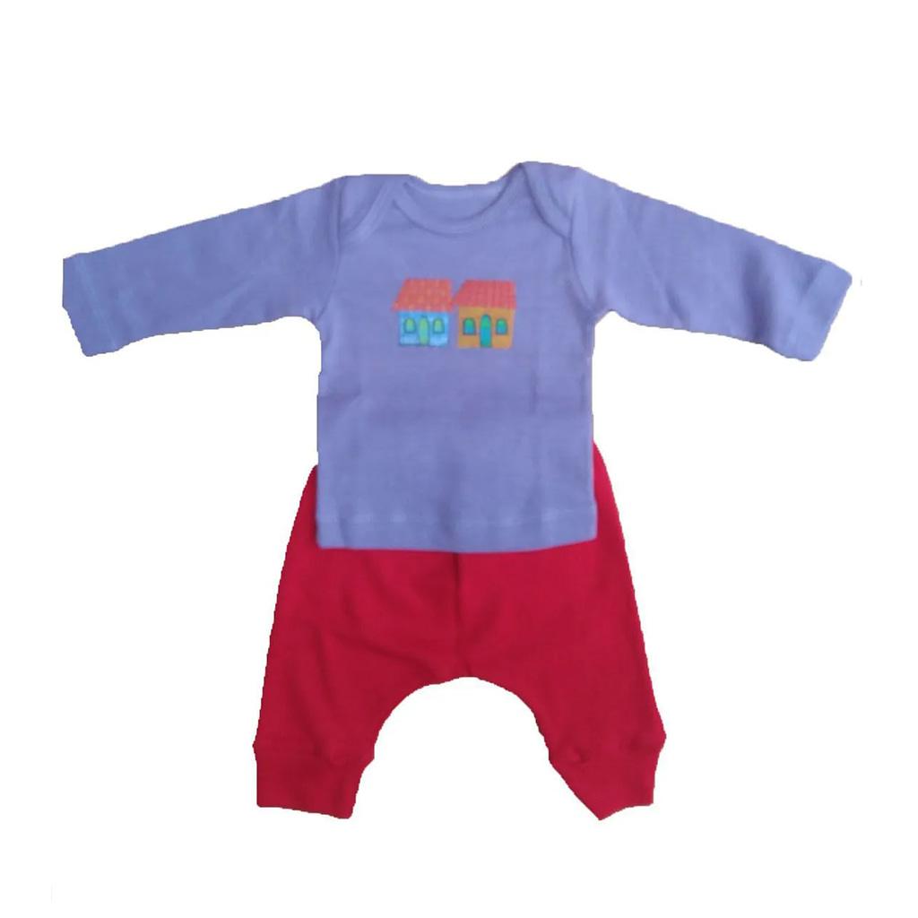 Conjunto calça e Camiseta Manga longa lilás casinha