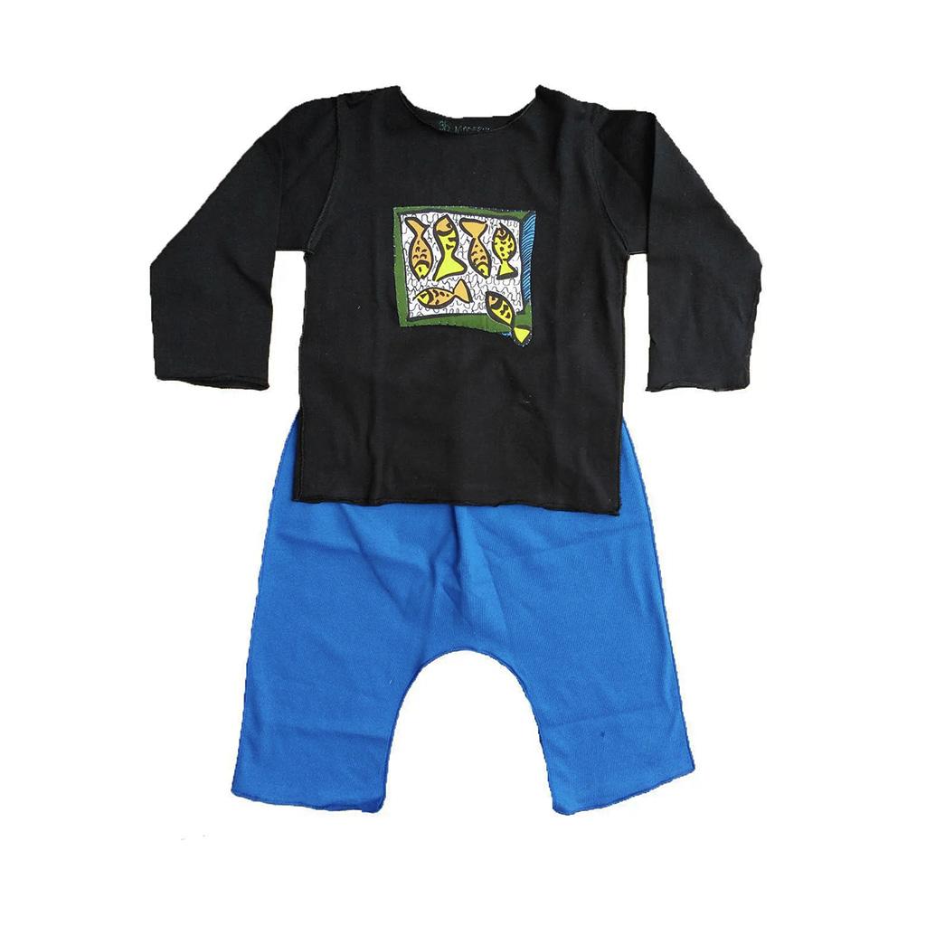 Conjunto calça e Camiseta Manga longa Preta com Peixes
