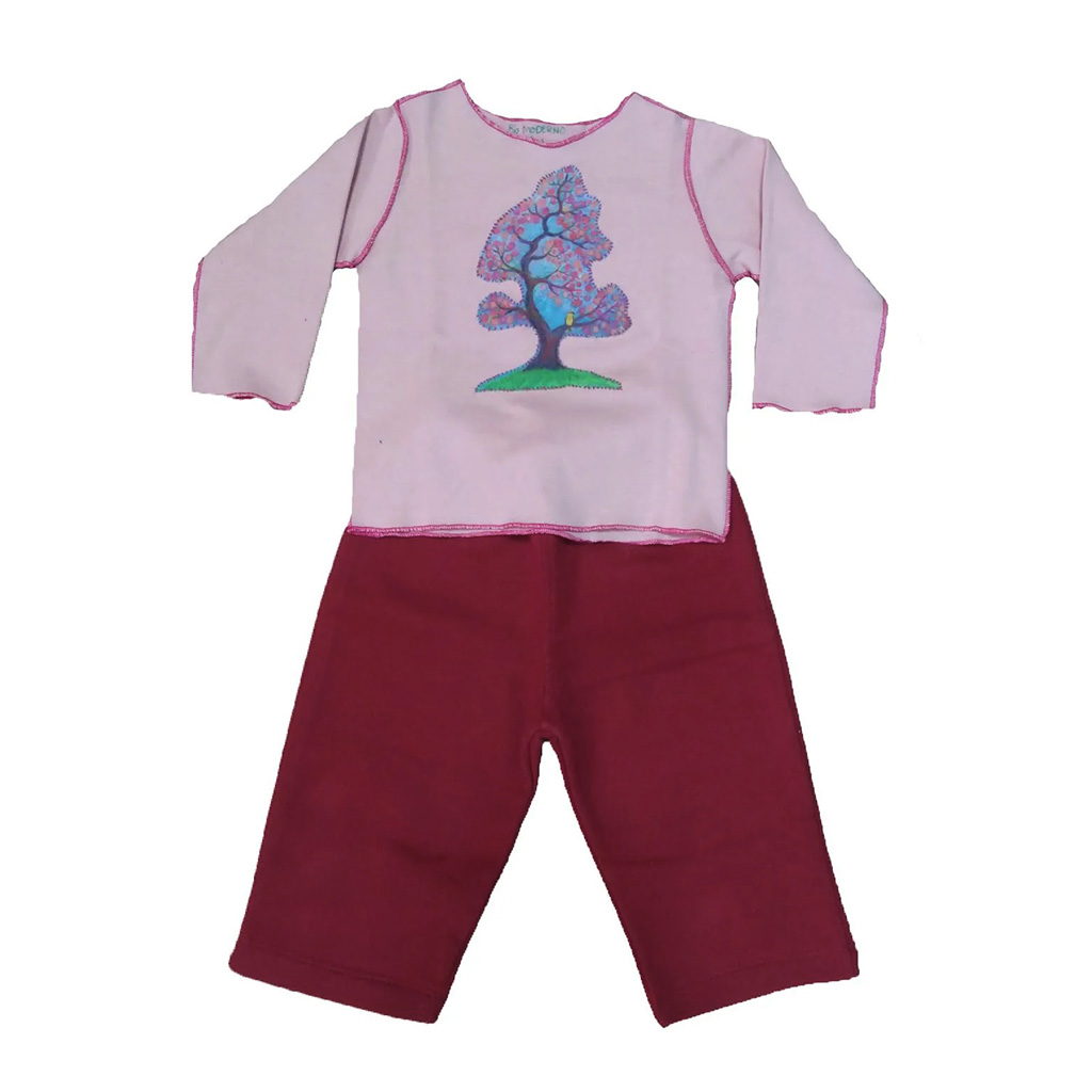 Conjunto calça e Camiseta Manga longa Rosa com Arvore