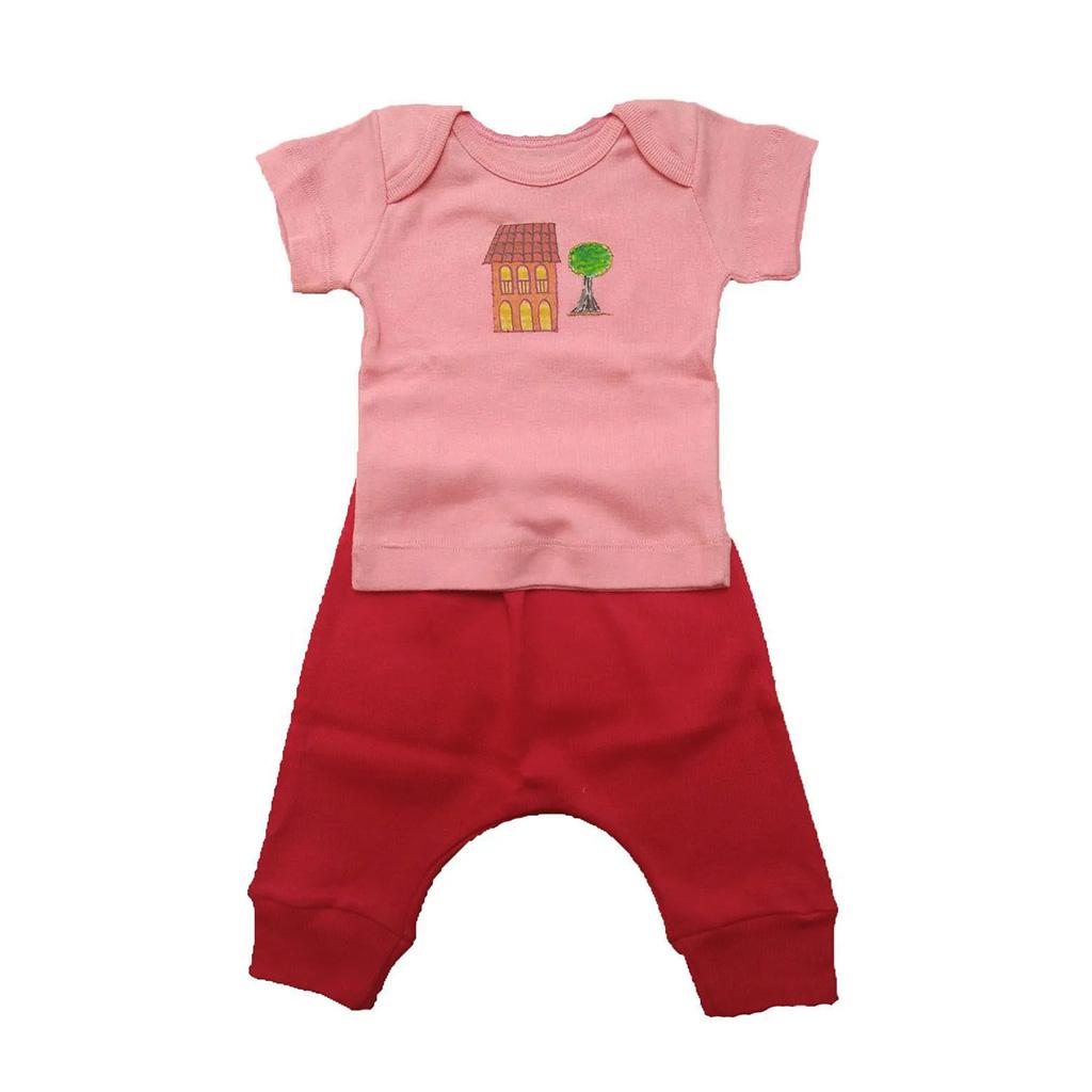Conjunto calça e Camiseta Rosa Casinha
