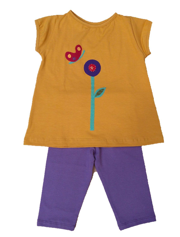 Conjunto calça fuseaux lilá e bata Manga Curta