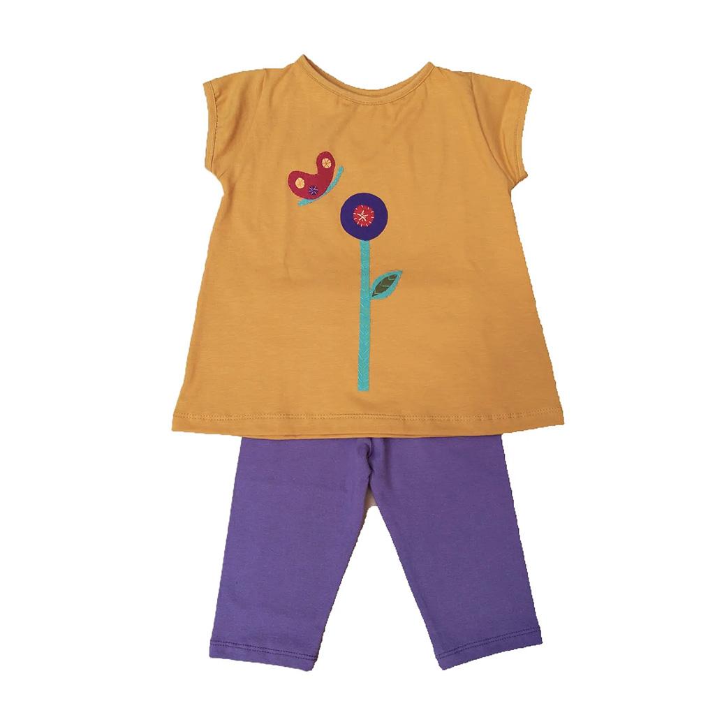 Conjunto calça fuseaux lilás e bata Flor
