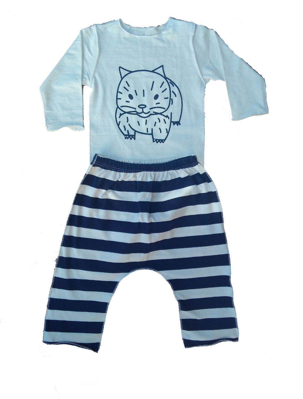 Conjunto calça listrada e Body para Bebê