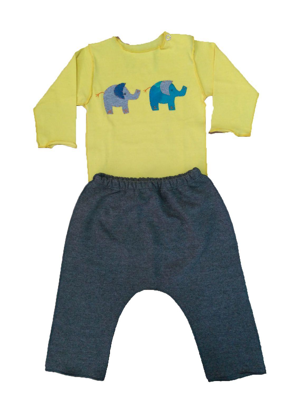 Conjunto calça moletinho e Body Amarelo para Bebê