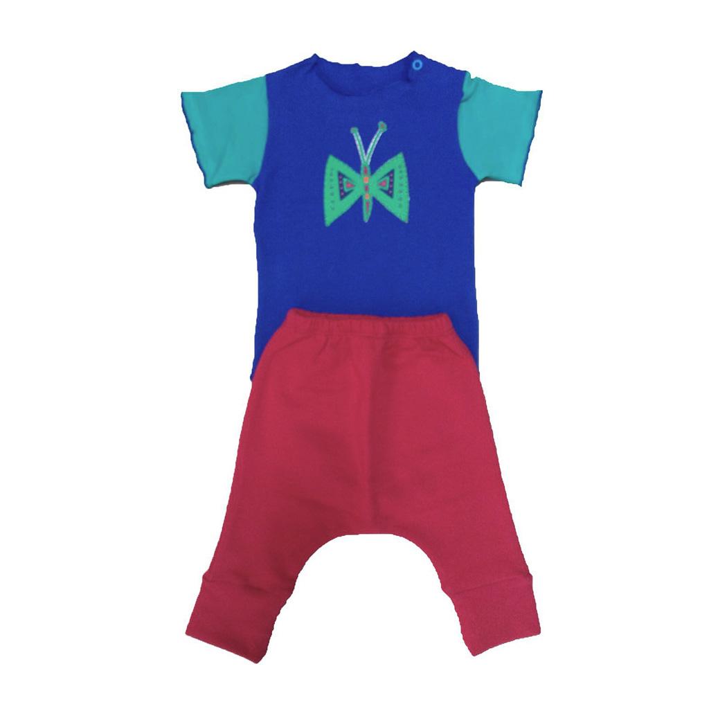 Conjunto calça Vermelha e Body Azul Flor