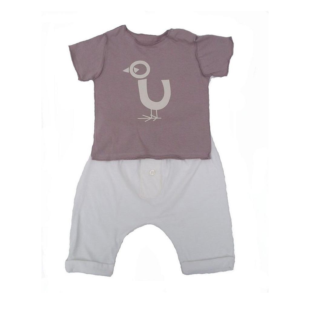 Conjunto Camiseta Nude PAssaro e calça Saruel Cru