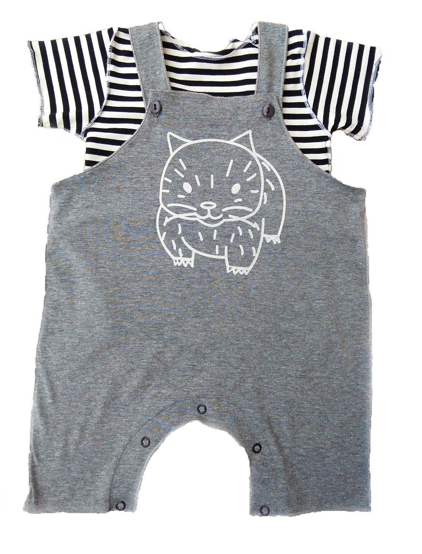 Conjunto de Salopete Cinza e Camiseta para Bebê