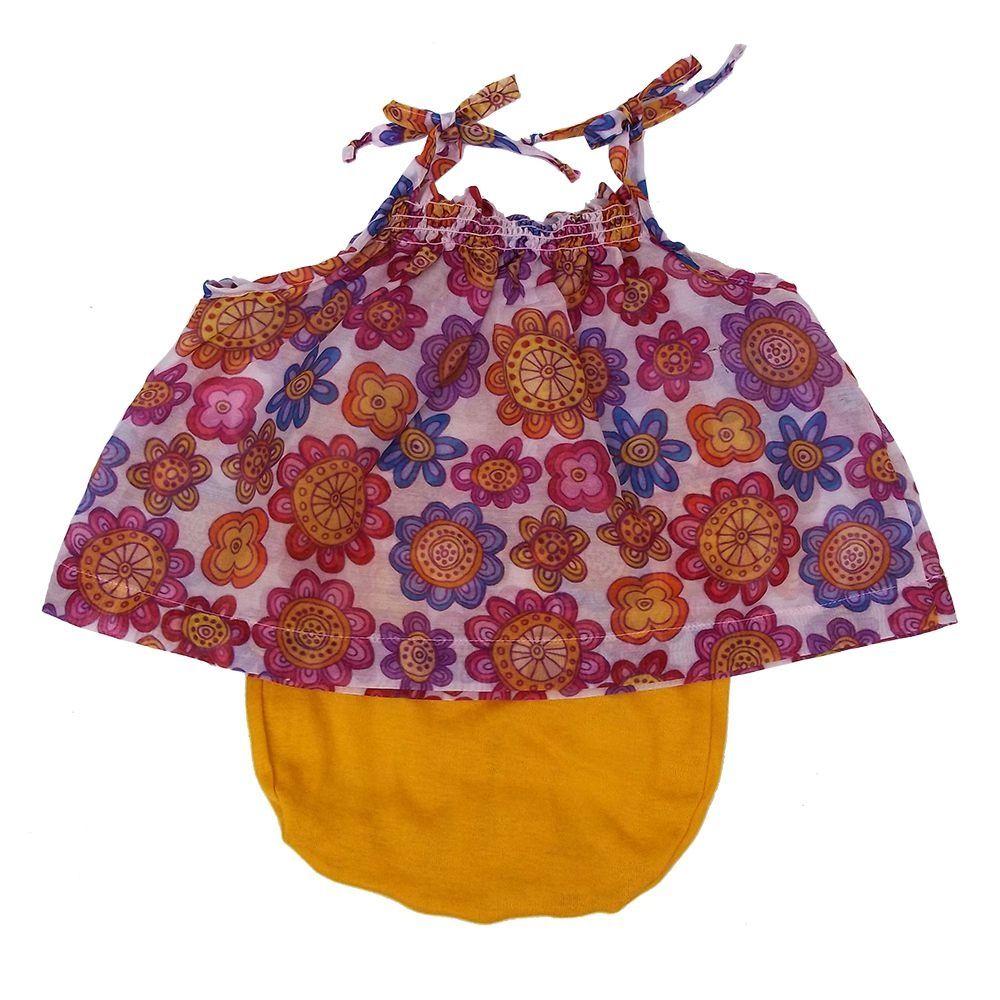 Conjunto para Bebê Menina Rosa Flores Bbmoderno