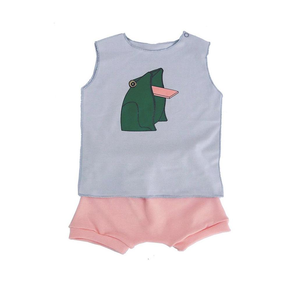 Conjunto para bebê Menina Shorts Rosa e Camiseta Sapinho